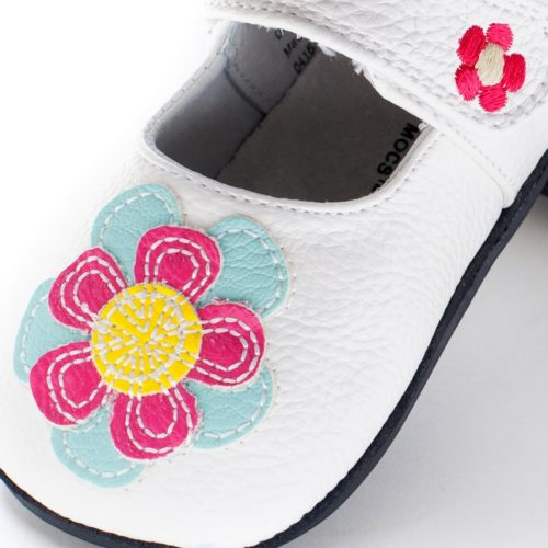 Pantofi casual, piele, fete, Alb/Floare, Isla 1