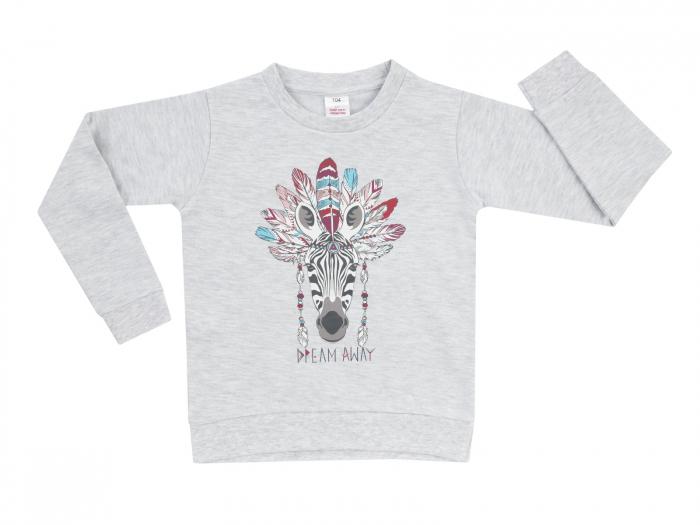 Bluza trening fete,gri, imprimeu pene _Basic Line 0