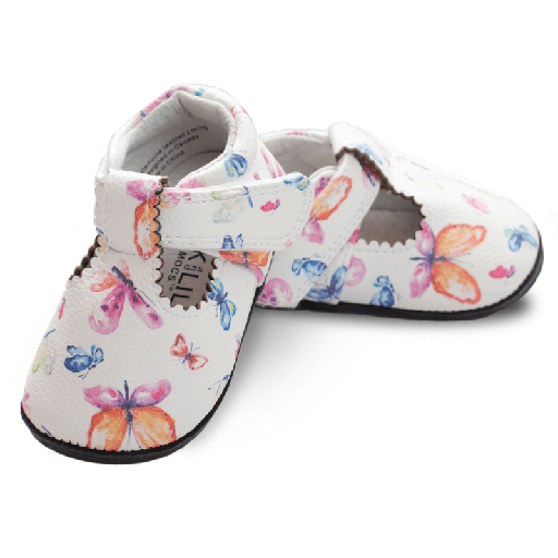 Pantofi casual, piele, fete, Alb/Fluturi, Mona [0]