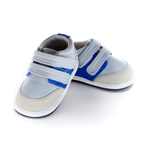 Pantofi sport, piele, baieti, Gri/Albastru, Joshua 0