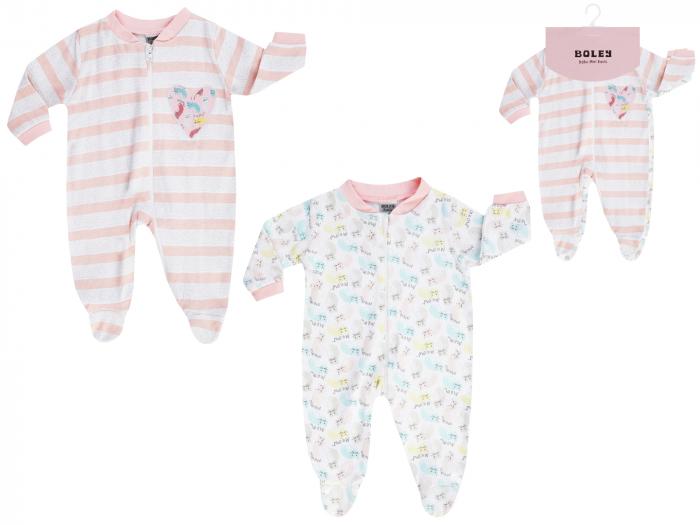 Pijama tip salopeta, intreaga cu talpa, bumbac 100%, 2 buc/set_Alb/Roz/Imprimeuri_Meow 0