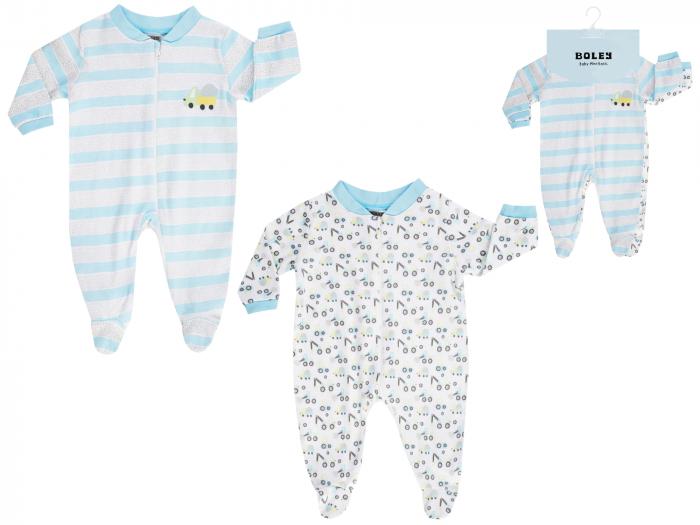 Pijama tip salopeta, intreaga cu talpa, bumbac 100%, 2buc/set_Alb/Albastru/Imprimeuri_Truck 0