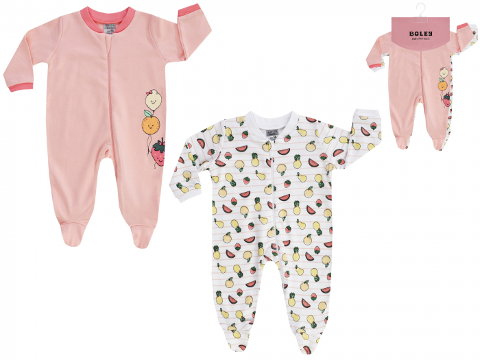 Pijama tip salopeta, intreaga cu talpa, bumbac 100%, 2buc/set, fete, Roz/Alb 0