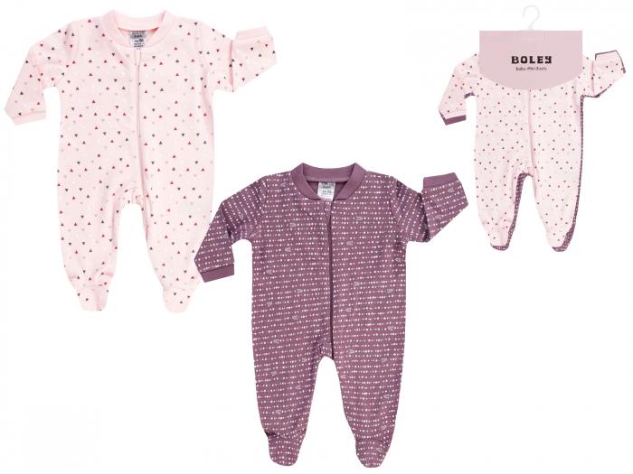 Pijama tip salopeta, intreaga cu talpa, bumbac 100%, 2buc/set, fete, Roz/Mov 0