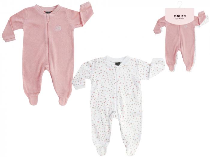 Pijama intreaga cu talpa, 2buc/set, fete, Roz/Alb stelute [0]
