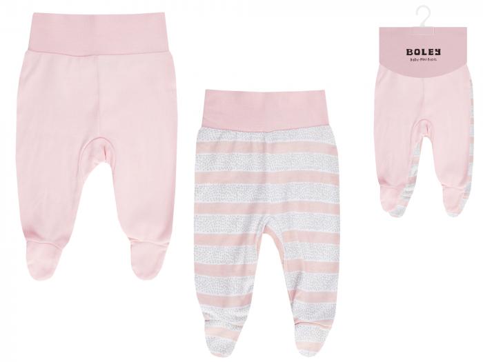 Pantalon tip pijama cu talpa, bumbac 100%, 2 buc/set_Alb/Roz/Imprimeuri_Meow 0