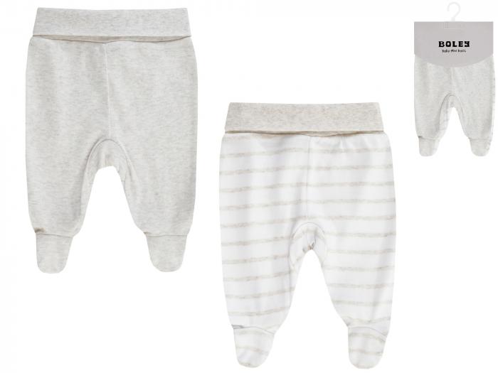 Pantalon tip pijama cu talpa, 2 buc/set, bumbac 100%, unisex, Crem/Alb [0]