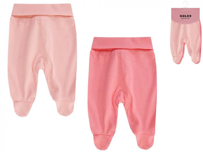 Pantalon tip pijama cu talpa, 2 buc/set, bumbac 100%, fete, Roz 0