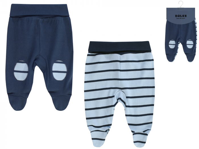 Pantalon tip pijama cu talpa, 2 buc/set, bumbac 100%, Albastru/Bleumarin 0
