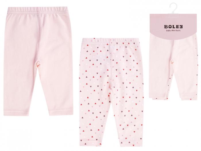 Pantalon lung leggings, bumbac 100%, 2buc/set, fete, Roz 0