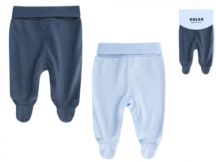 Pantalon cu talpa, 2 buc/set, bumbac 100%, baieti, Albastru [0]