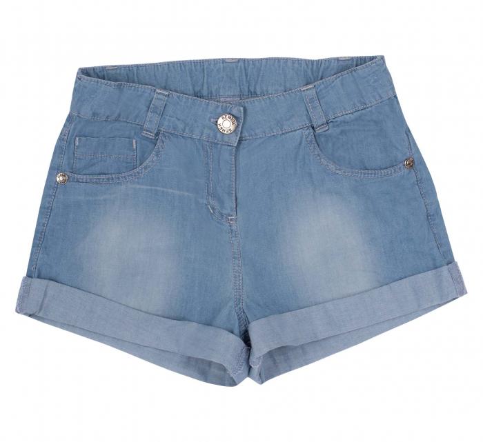 Pantalon scurt cu buzunare, subtire, jeans, fete, Albastru [0]