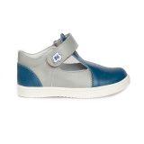 Pantofi piele, decupati, cu talonet, baieti, Gri/Albastru, Pablo [1]