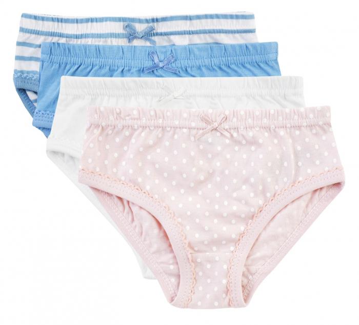 Chiloti fete, Set 4 bucati, albastru/roz/alb 0