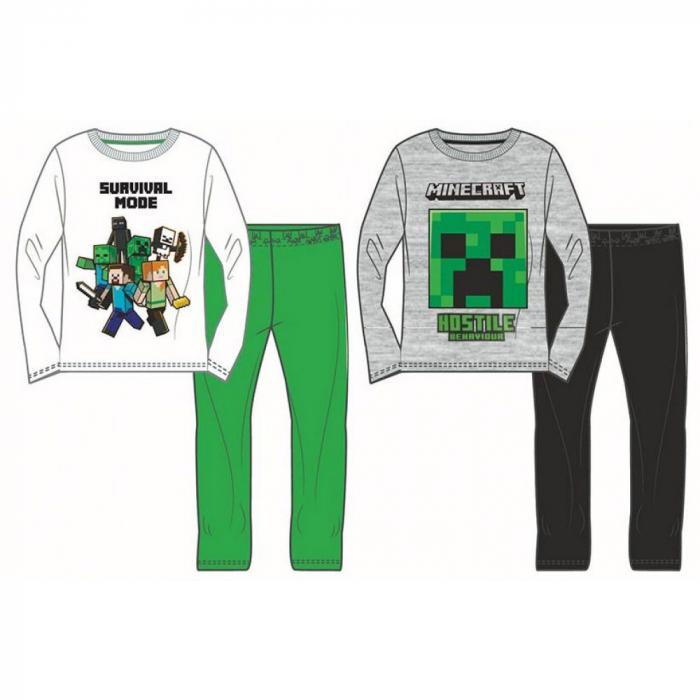 Pijama cu maneca lunga, doua piese, baieti, Alb/Verde, Licenta Minecraft [0]