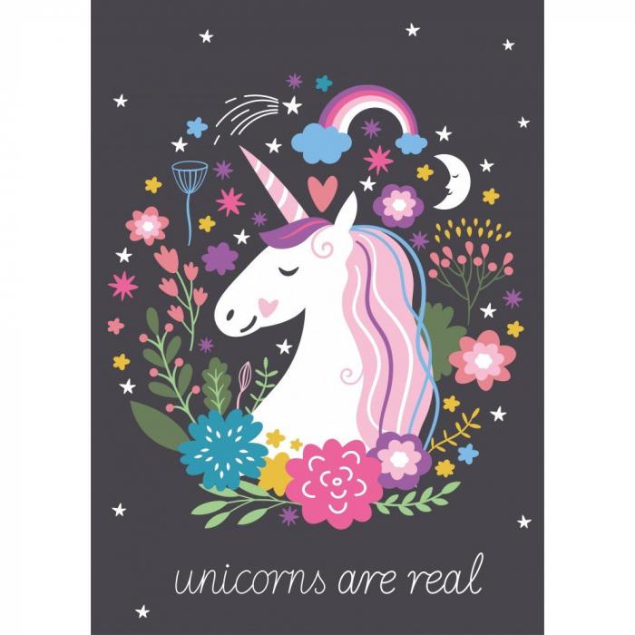 Paturica pufoasa din fleece, Neagra, Unicorn 100*140 [0]