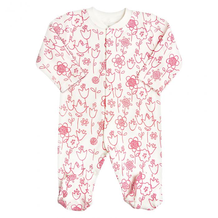 Pijama tip salopeta intreaga cu talpa_ bumbac organic_100%_flori 0