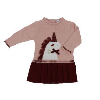 Rochita cu maneca lunga din tricot_Roz/Bordo_Unicorn 0