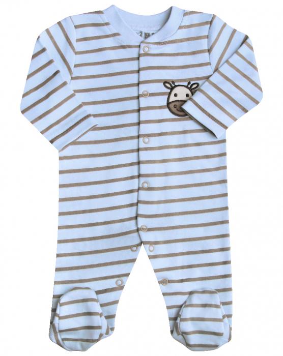 Pijama tip salopeta intreaga cu dungi si talpa din bumbac organic 100%_Girafa 0