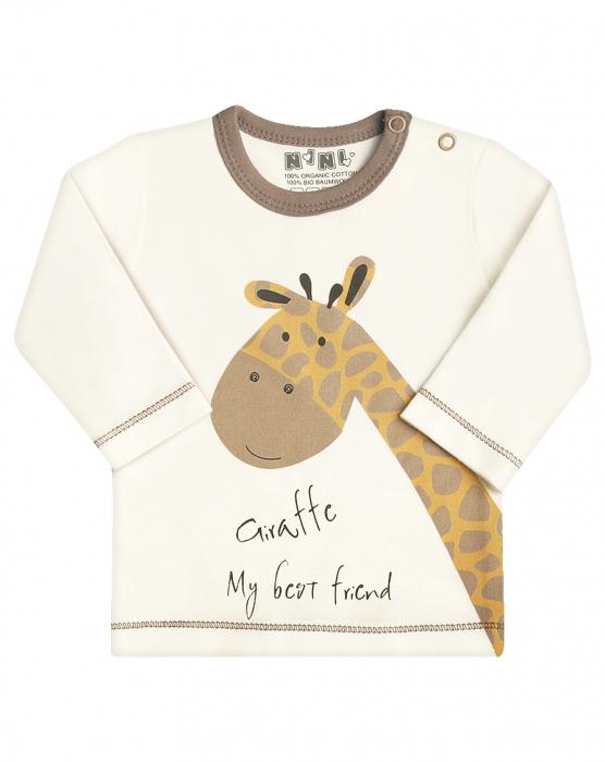 Bluza cu maneca lunga, bumbac organic 100%_Girafa 0