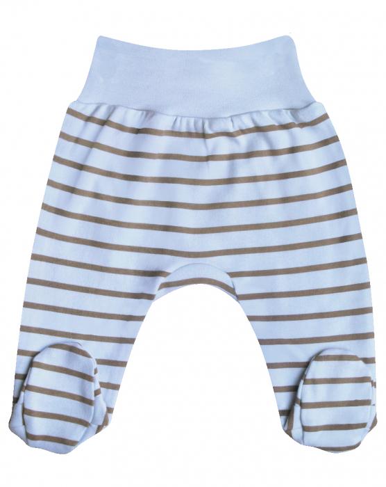 Pantaloni pijama cu talpa si dungi 100% bumbac organic_Girafa 0