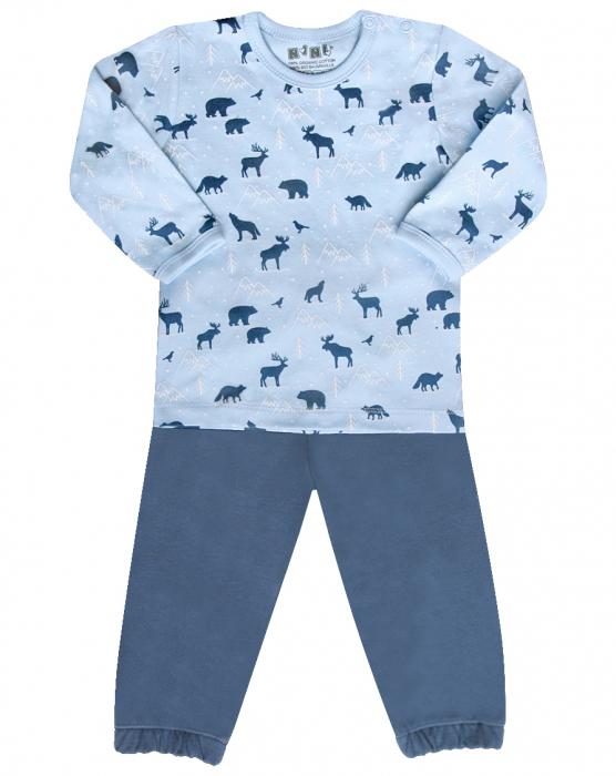 Pijama doua piese, bumbac organic 100%_Blue Animals 0