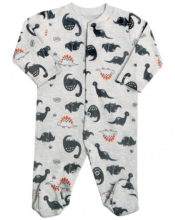 Pijama tip salopeta intreaga cu talpa bumbac 100%, Gri cu dinozauri, September 0