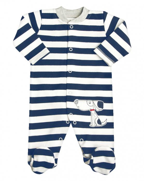Pijama tip salopeta intreaga cu talpa ,bumbac 100%_Dungi/Catel 0