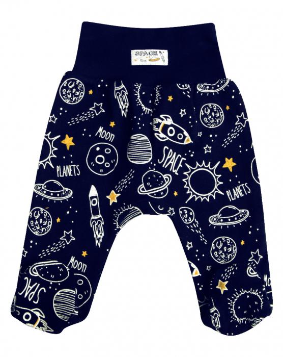 Pantalon cu talpa bumbac oganic 100%_Albastru_Planets 0