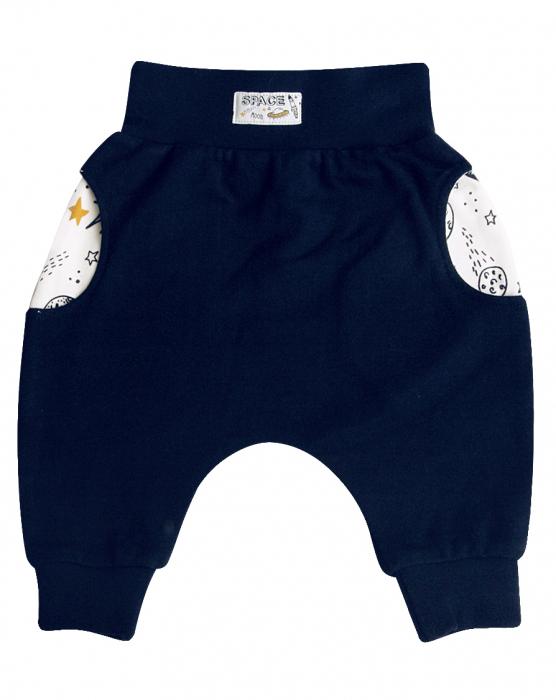 Pantalon trening cu buzunare bumbac organic 100%, Albastru, Planets [0]