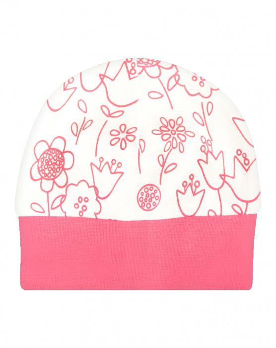 Caciulita bebe bumbac organic 100%_Flower 0