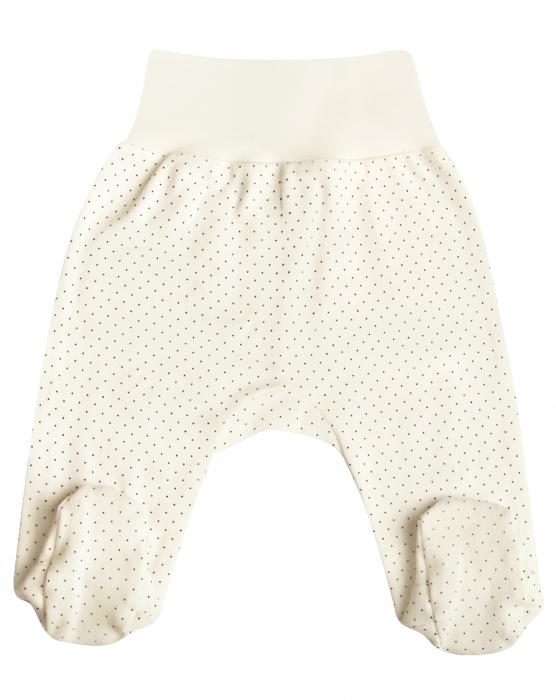 Pantalon pijama cu talpa 100% bumbac organic_Alb cu buline_September 0