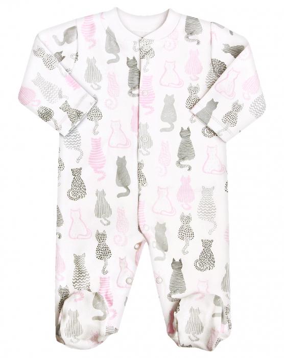 Pijama tip salopeta intreaga cu talpa_ Bumbac 100%_CAT_ecru cu desen 0
