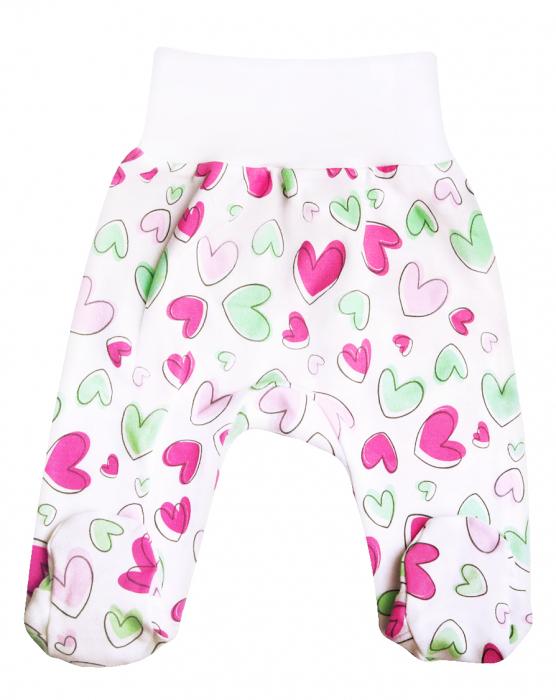Pantaloni pijama cu talpa 100% bumbac _Alb Hearts 0