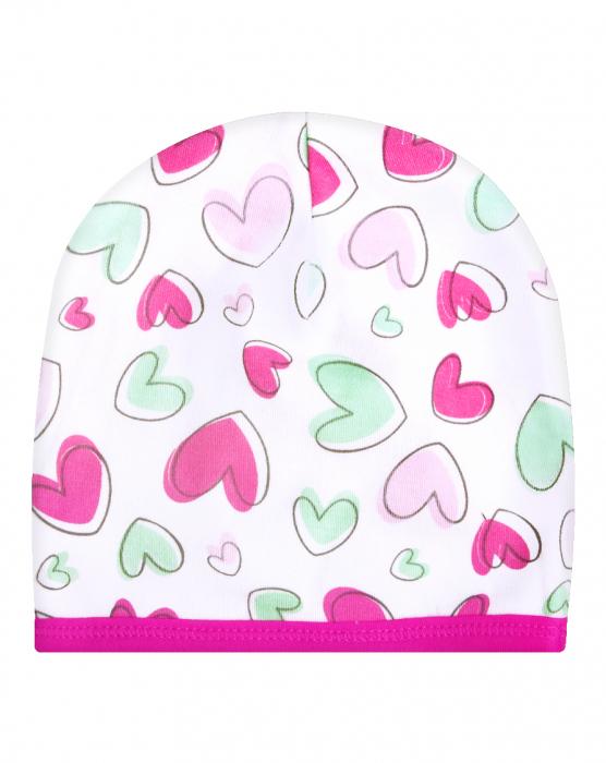 Caciulita bebe_Alb cu inimioare roz 0