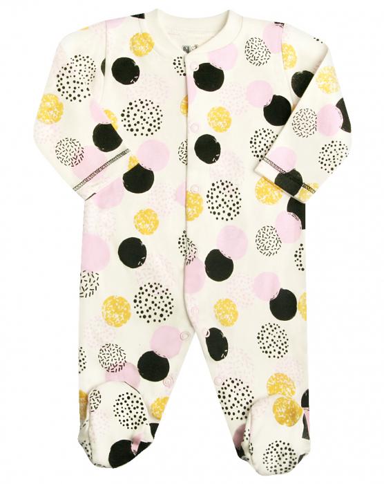 Pijama tip salopeta intreaga, cu talpa , bumbac organic 100%_Alb cu buline colorate 0