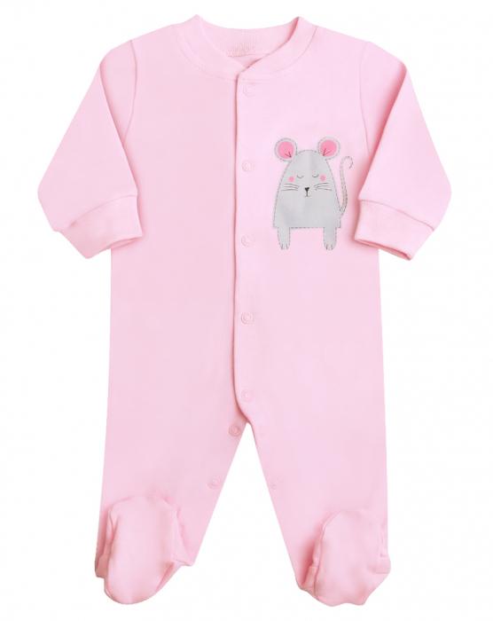 Pijama tip salopeta intreaga, cu talpa, bumbac 100%, Roz/Soricel 0