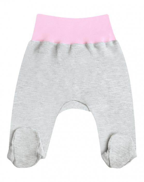 Pantalon tip pijama cu talpa, bumbac 100%, Gri cu roz [0]