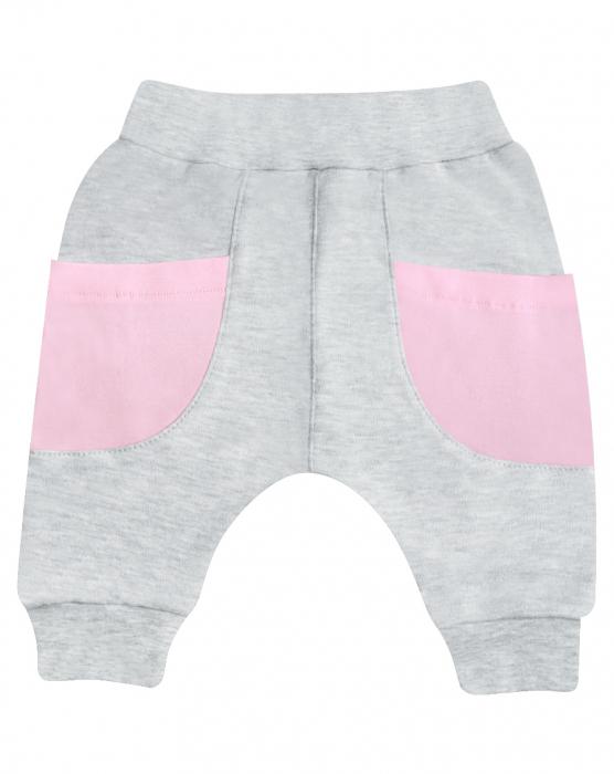 Pantalon trening, cu buzunare, bumbac 100%, Gri/Roz [0]