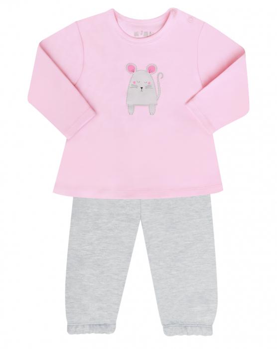Pijama doua piese, bumbac 100%, Roz/Soricel [0]
