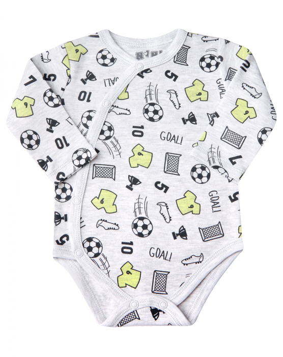Body petrecut cu maneca lunga,  Gri/Fotbal, baieti 0