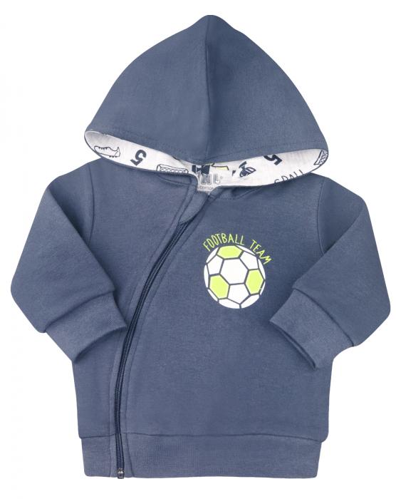 Bluza trening cu gluga si fermoar, bumbac 100%, Gri inchis/Fotbal, baieti [0]