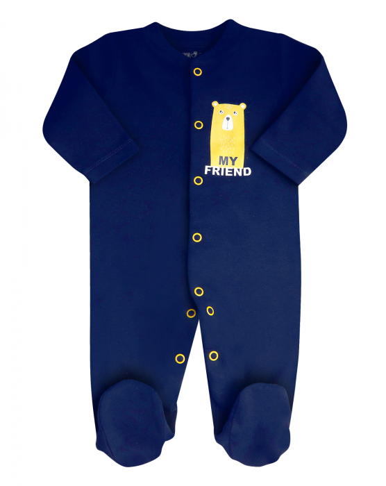 Pijama tip salopeta intreaga cu talpa, bumbac organic 100%_Albastru_My friend 0