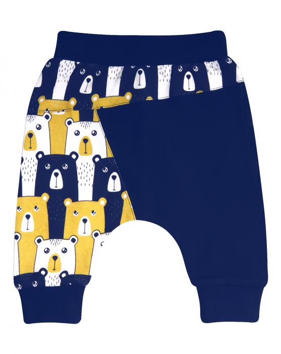 Pantalon trening, bumbac organic 100%, Albastru/Ursi 0