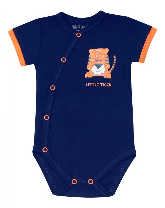 Body petrecut cu maneca scurta, bumbac organic 100%, baieti, albastru/portocaliu, LITTLE TIGER 0