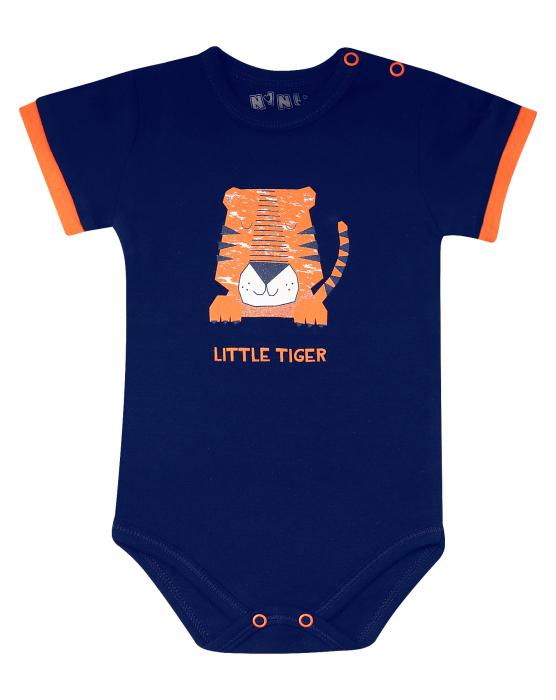 Body cu maneca scurta, bumbac organic 100%, baieti, albastru/portocaliu, LITTLE TIGER 0