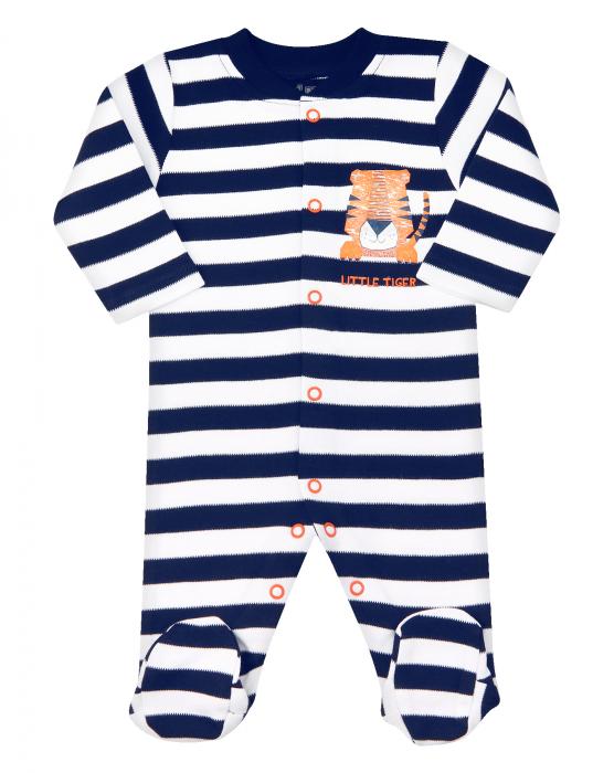 Pijama tip salopeta, intreaga cu talpa, bumbac organic 100%, baieti, albastru/dungi, LITTLE TIGER 0
