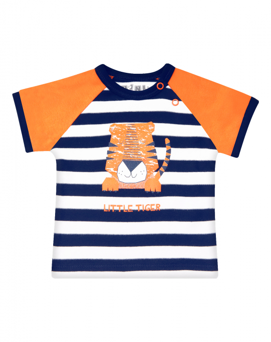 Tricou cu maneca scurta, bumbac organic 100%, baieti, albastru/portocaliu/dungi, LITTLE TIGER 0