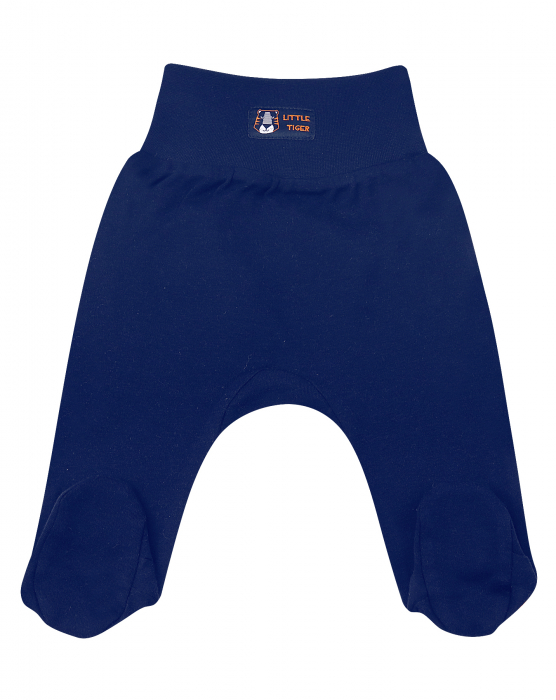 Pantalon tip pijama cu talpa, bumbac organic 100%, baieti, albastru, LITTLE TIGER [0]