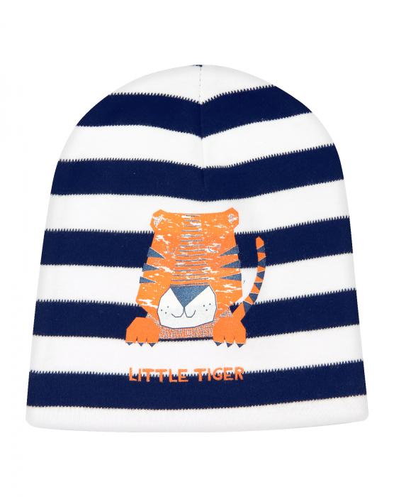 Caciulita bebe, bumbac organic 100%, baieti, albastru/dungi, LITTLE TIGER 0